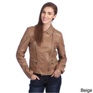 United Face Womens Textured Leather Biker Jacket