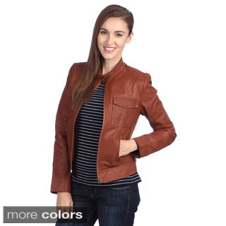 New Womens Lambskin Leather Slim Fit Motorcycle Jackets LFW187