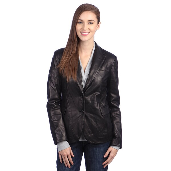 United Face Womens 2-button Leather Blazer