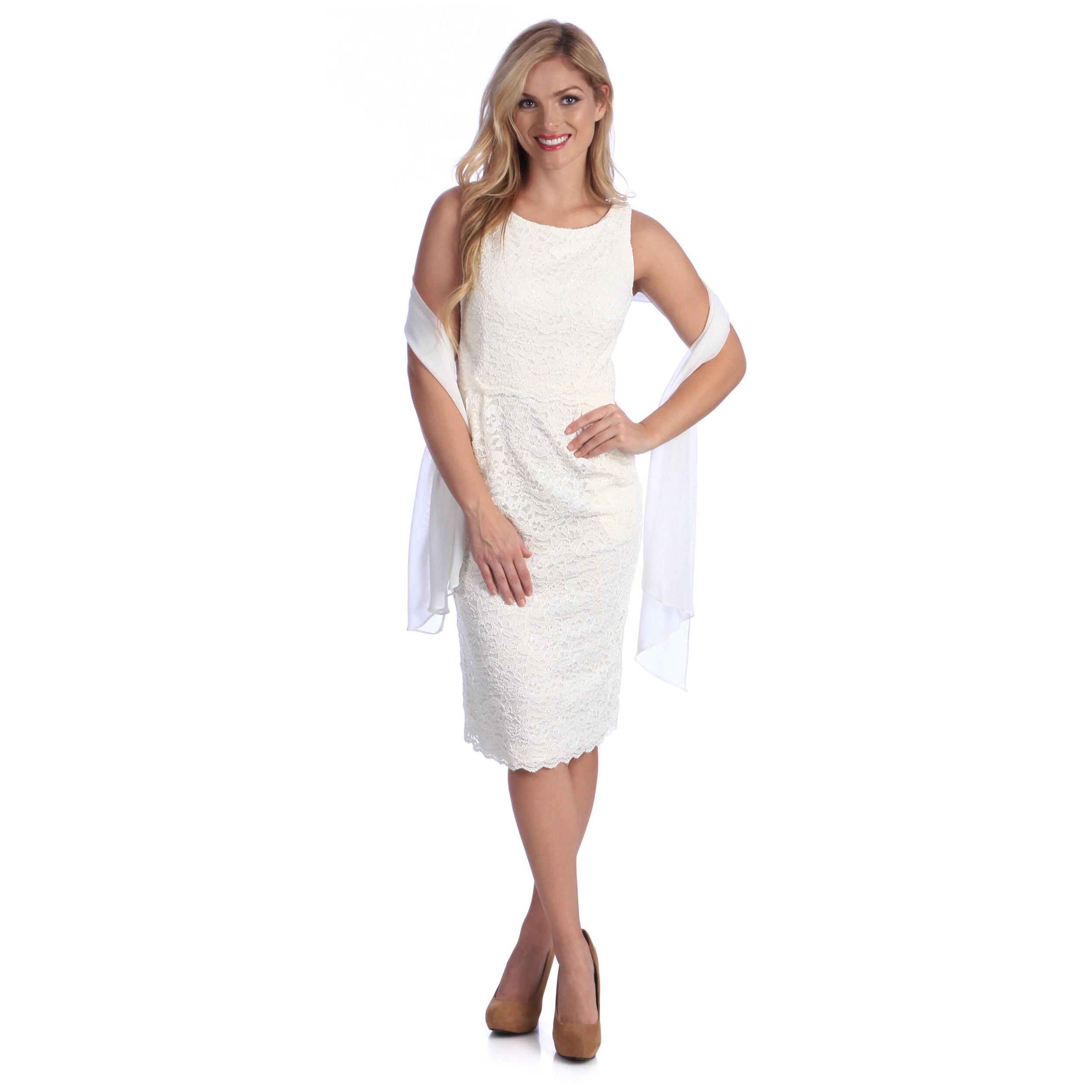 Alex Evenings Womens Ivory Stretch Lace Sleeveless Dress