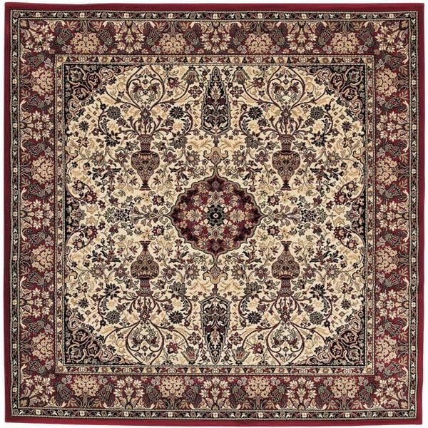 """Everest Ardebil Ivory-Red Square Area Rug - 7'10"""" square"""