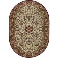 Everest Ardebil Ivory-Red Oval Area Rug - 7'10 x 11'
