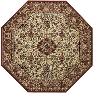 Everest Ardebil Ivory-Red Octagon Area Rug - 7'10 x 7'10