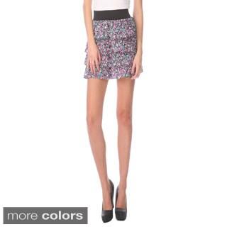Stanzino Women's Banded Waist Floral Ruffled Skirt