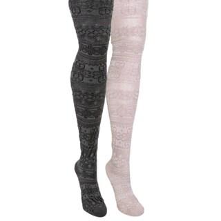Muk Luks Women's 2-pair Pack Patterned Microfiber Tights - Multi