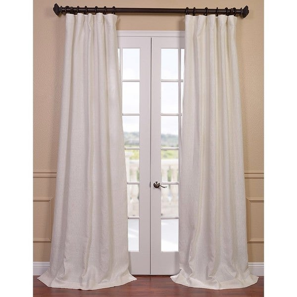Exclusive Fabrics Ivory French Linen Lined Curtain Panel