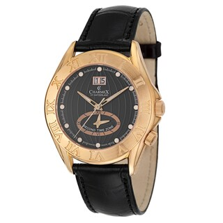 Charmex Men's 'Globetrotter' Rose Goldplated Stainless Steel Watch