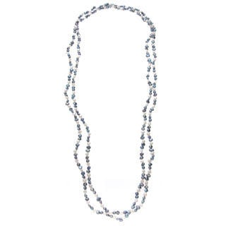 Long Strand Freshwater Pearl Necklace with White and Grey Baroque Pearls (4-6 mm)