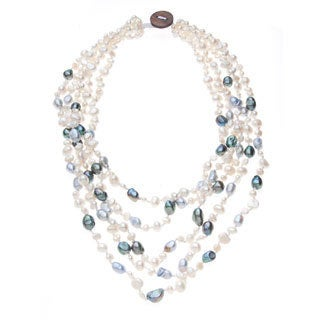 White, Grey and Blue Freshwater Pearl 5-strand Necklace (5-9 mm)