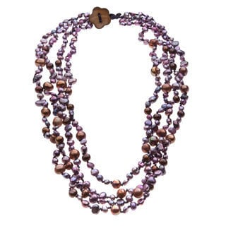 Purple and Brown Freshwater Pearl 4-strand Necklace (4-9 mm)
