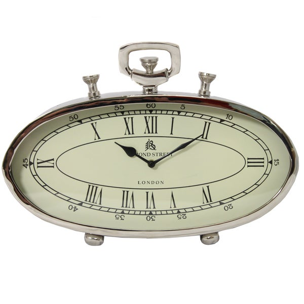 49 Bond Street Classic 16 Inch Polished Nickel Metal Table Clock