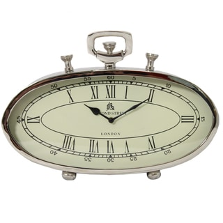 49 Bond Street Classic 16-inch Polished Nickel Metal Table Clock