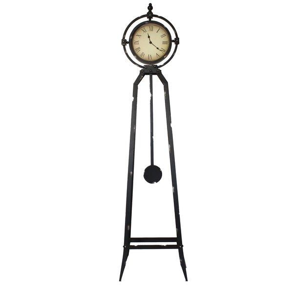 Bon Dakota 57 Inch Rustic Metal Stand Floor Clock
