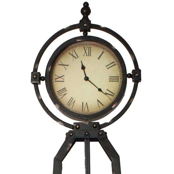 Shop Dakota 57 Inch Rustic Metal Stand Floor Clock Overstock
