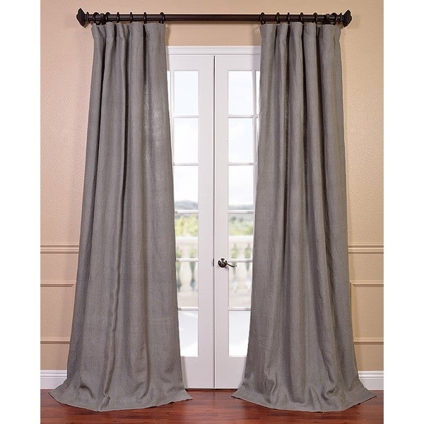 Lined Linen Drapes: Exclusive Fabrics Grigio Grey French Linen Lined Curtain