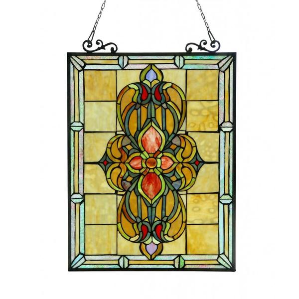 Chloe tiffany style victorian design window art glass for Glass panel design
