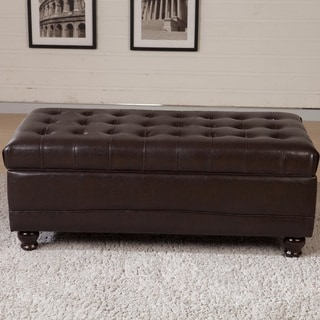 Classic Dark Espresso Tufted Storage Bench Ottoman