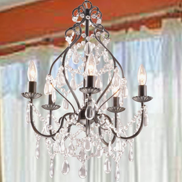 Bethany 5Light Iron and Crystal Candle Chandelier Free Shipping – Candle Crystal Chandelier