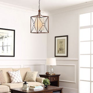 Josie Antique Copper Iron Chandelier with Fabric Shade
