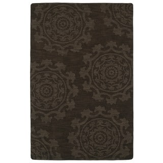 Trends Suzani Chocolate Brown Wool Rug (9'6 x 13'6)