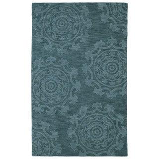 Trends Suzani Turquoise Wool Rug (5'0 x 8'0)