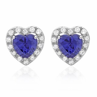 Sterling Silver Purple Cubic Zirconia Heart Stud Earrings