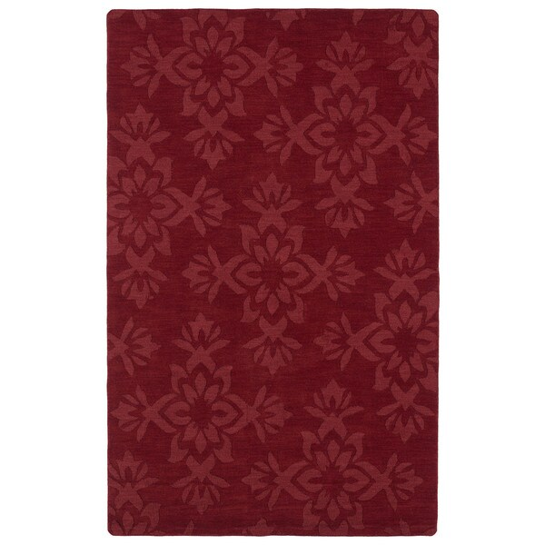 Trends Red Damask Wool Rug