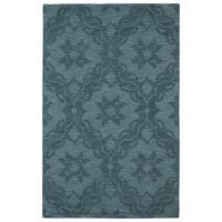 Trends Turquoise Medallions Wool Rug (5' x 8') - 5' x 8'