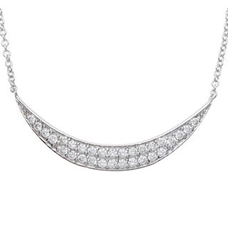 Sterling Silver Cubic Zirconia Paved Crescent Necklace