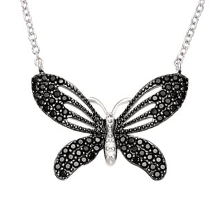 Sterling Essentials Silver Black Pave Cubic Zirconia Butterfly Necklace