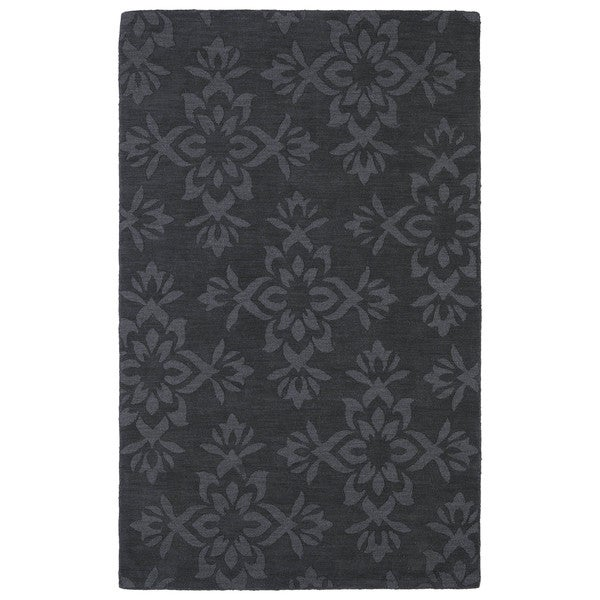 Trends Charcoal Damask Wool Rug