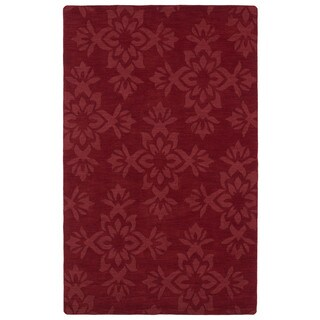 Trends Red Damask Wool Rug (9'6 x 13'6)