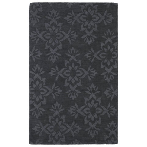 Trends Charcoal Damask Wool Rug - 2' x 3'