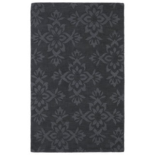 Trends Charcoal Damask Wool Rug (2'0 x 3'0)