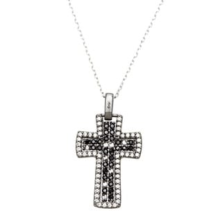 Sterling Essentials Two-Tone Silver Black and White Pave CZ Cross Necklace