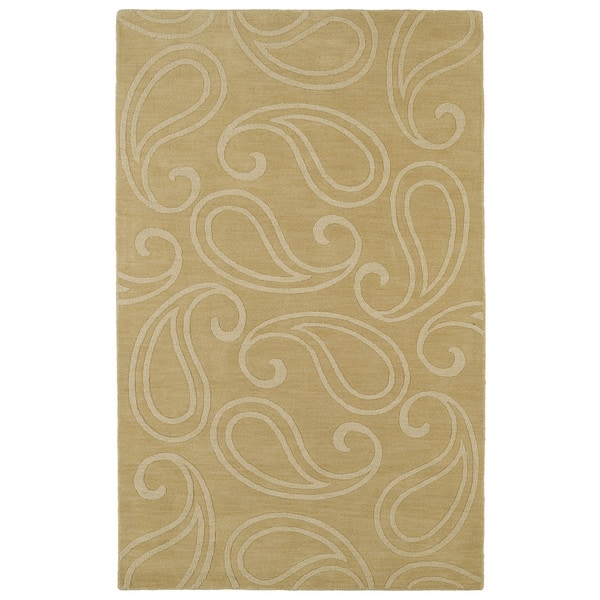 Trends Yellow Paisley Wool Rug (5'0 x 8'0)