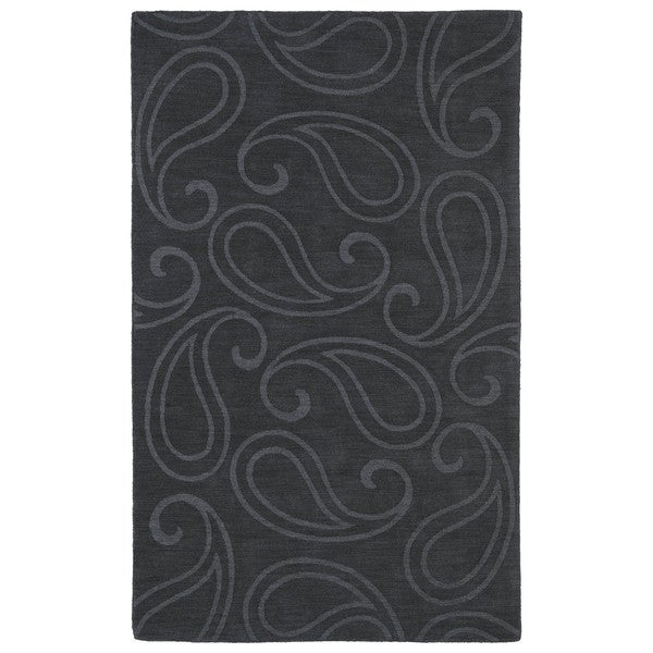 Trends Charcoal Paisley Wool Rug - 8' x 11'