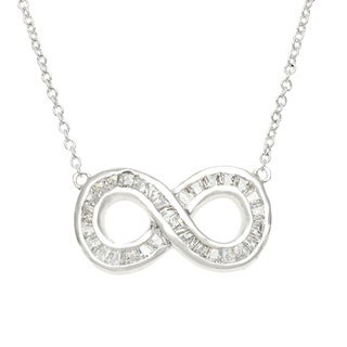 Sterling Essentials Silver Channel Set CZ Infinity Necklace