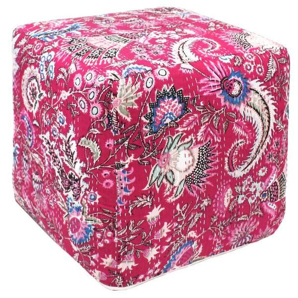 Handmade Pink Kantha Pouf Ottoman India Free Shipping