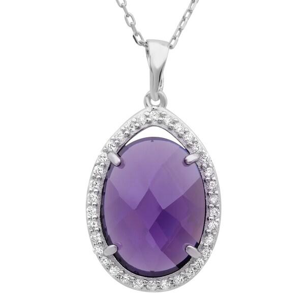 Sterling Essentials Silver Purple Checkerboard Cubic Zirconia Necklace