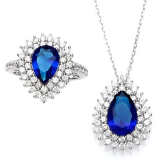 Sterling Essentials Silver Royal Blue Pear Cubic Zirconia Necklace and Ring Set