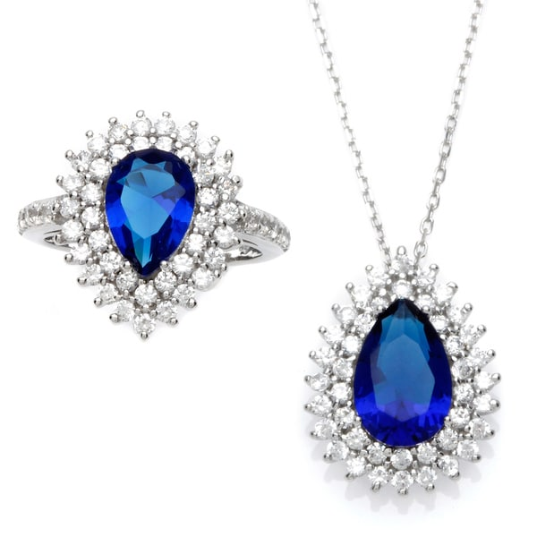 Sterling Silver Royal Blue Pear Cubic Zirconia Necklace and Ring Set