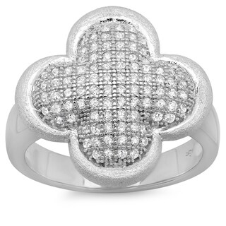 Sterling Essentials Sterling Silver Pave Cubic Zirconia Puffed Clover Ring