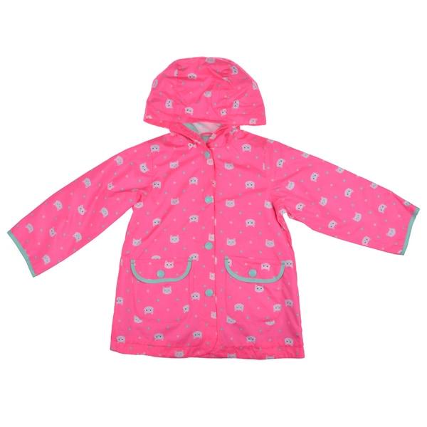 Carter's Girl's Hooded Cat Print Rain Jacket
