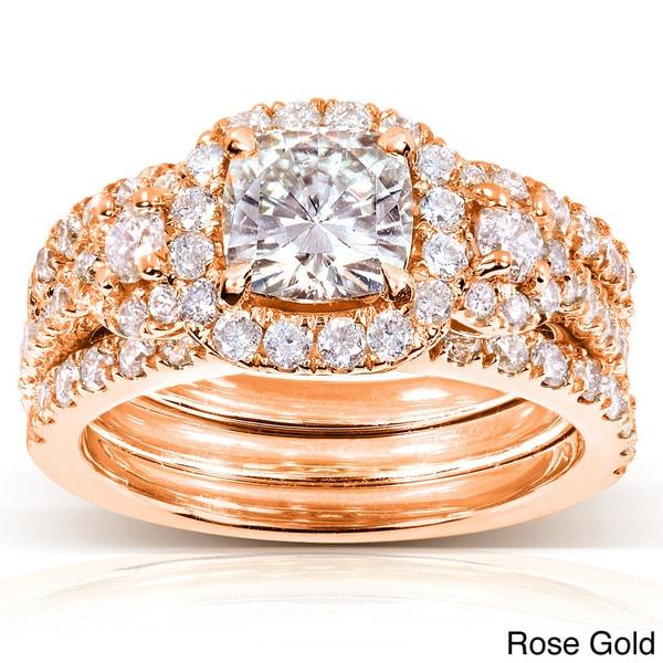 Annello by Kobelli 14k Gold 2 1/2ct TGW Cushion-cut Moissanite (HI) and Diamond Bridal Rings (3 Piece Set)