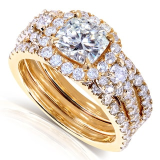Annello by Kobelli 14k Gold Cushion-cut Moissanite and 1 1/3 ct TDW Diamond Bridal Ring Set