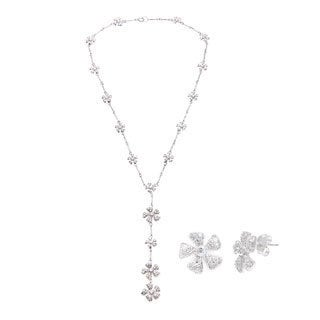Sterling Silver Pave Cubic Zirconia Daisy Y Necklace and Earrings Set