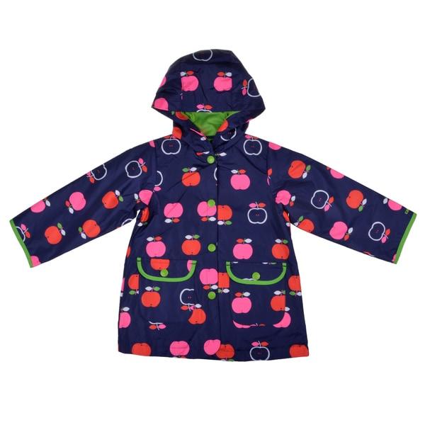 Carter's Girl's Hooded Apple Print Rain Jacket