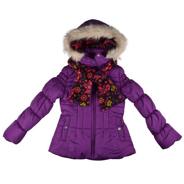 London Fog Girls Fleece-Lined Faux-Fur-Trim Front-Zipper Bubble Jacket