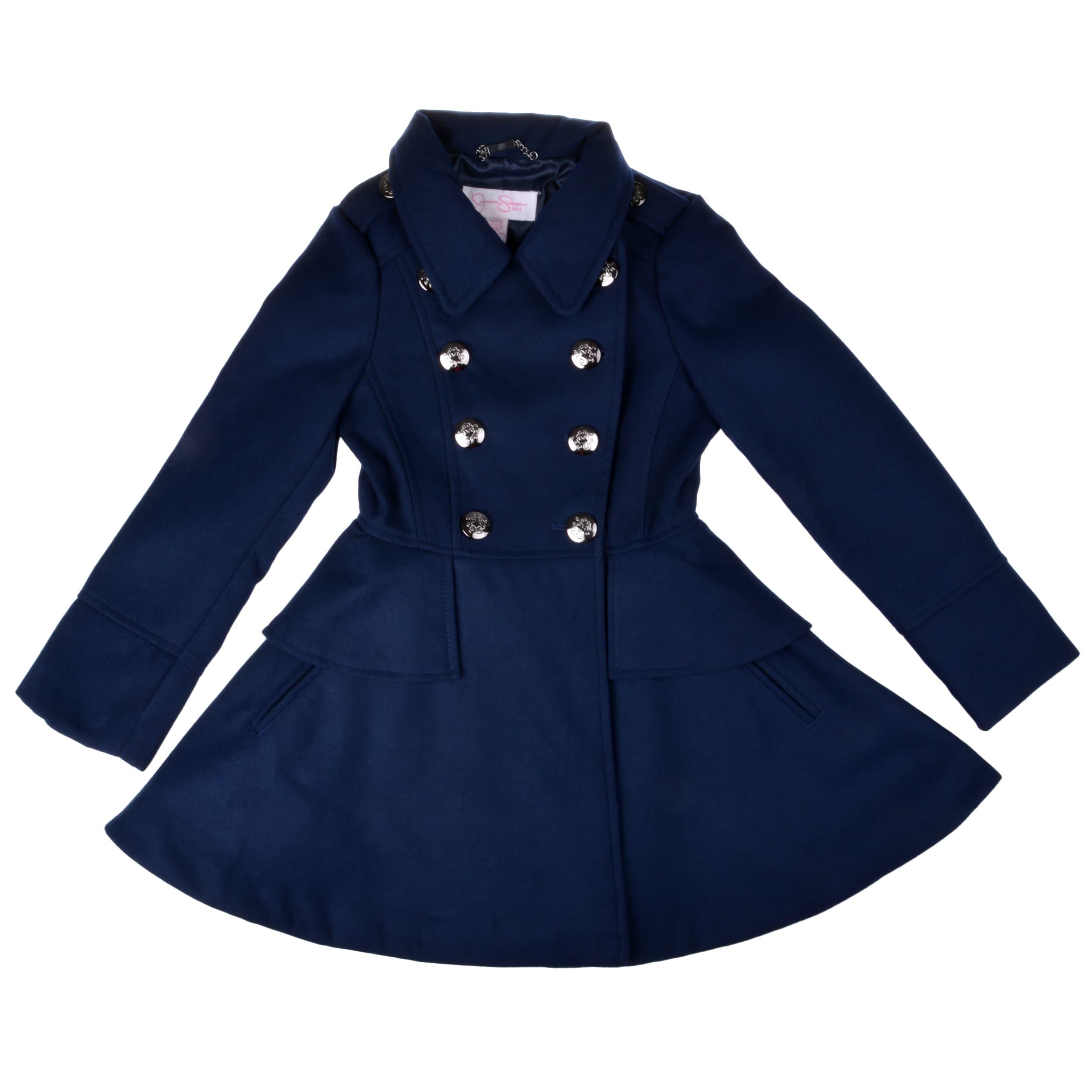 Baby-Girls Double Breasted Red Fleece Coat w//Hat